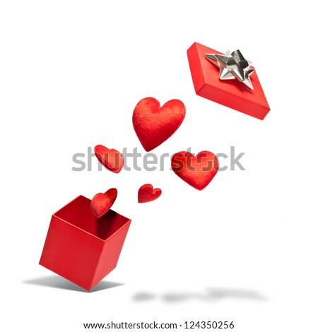 Opened gift box with flying hearts over white background
