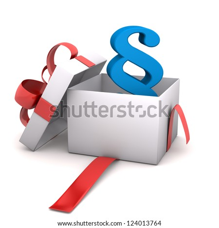 Opened gift with paragraph symbol. White background.