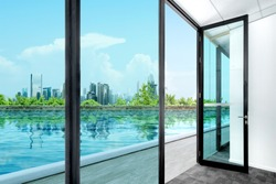 Opened glass door with pond view and skyscrapers background