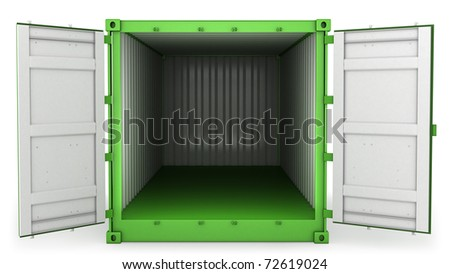 Opened green freight container isolated on white background, front view