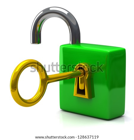 Opened green pad lock with key, 3d icon