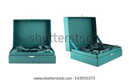 Opened green silk case box with a satin cloth inside isolated over white background, set of two foreshortenings
