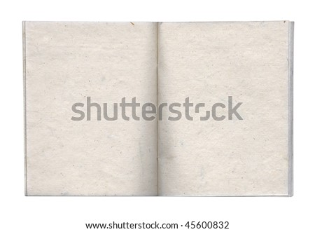 Opened handmade book with blank paged. Isolated on white. Clipping path included.