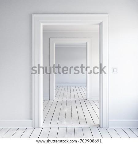 Opened home doorway interior. 3d render