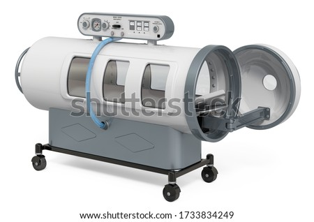 Opened Hyperbaric Chamber, 3D rendering isolated on white background Stock photo ©