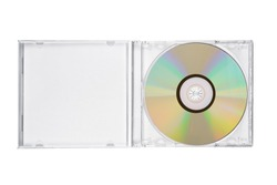 Opened jewel CD case with compact disc isolated on white background. Top view