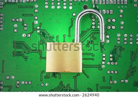 opened lock and circuit board, concept of computer safety