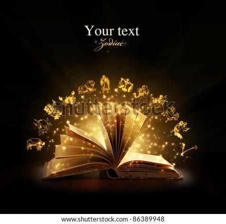 Opened magic book with magic zodiac symbols. Education. Zodiac #86389948