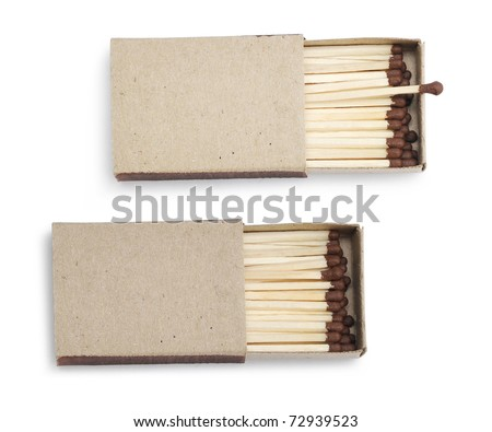 Opened matchbox isolated on a white background