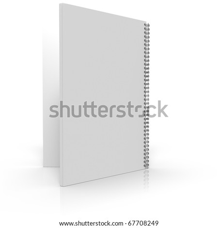 Opened notebook as seen from back, isolated on white background