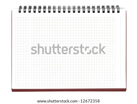 Opened notebook isolated with clipping path over white