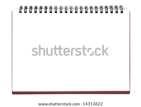 Opened notebook isolated with clipping path over white background