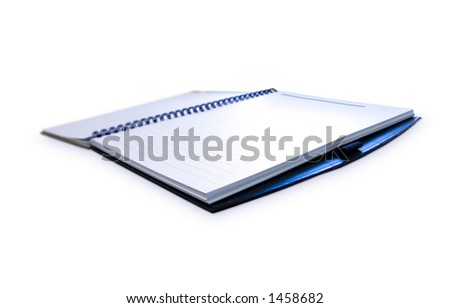 Opened Notebook with blank pages over white background.