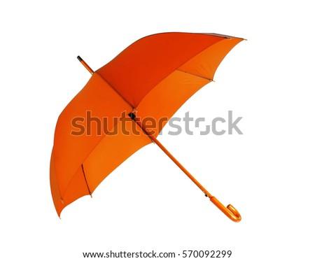 Opened orange umbrella isolated on white background  #570092299