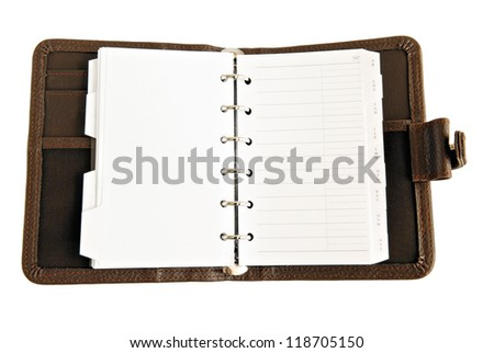 Opened organizer or planer over white background