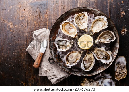 Opened Oysters on metal copper plate on dark wooden background