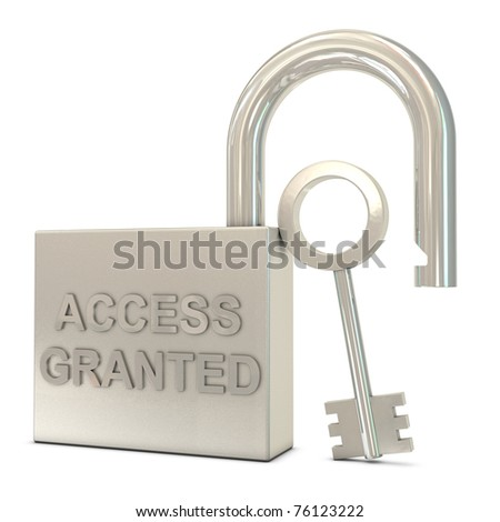Opened padlock, key and access granted text isolated on white background