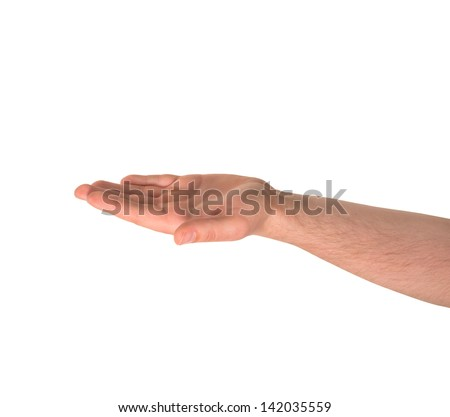 Opened palm facing up as caucasian hand gesture isolated over white background