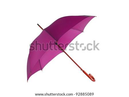 Opened pink umbrella isolated on white background
