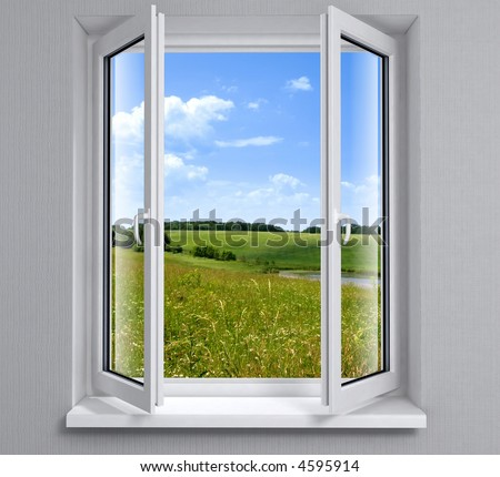 Opened plastic window new in room with view to green field