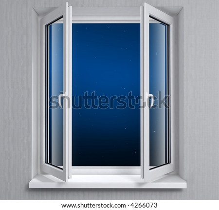 Opened plastic window with night sky. Modern design windows in room interior on the gray wall for house maintenance. 3d rendered illustration.