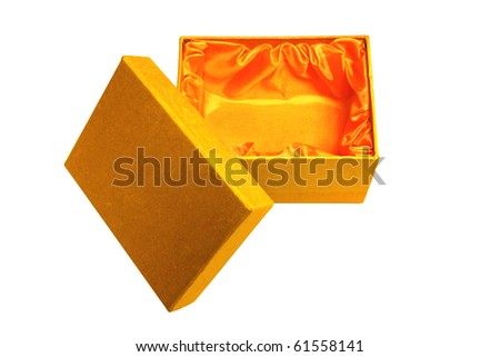 Opened pretty golden fabric gift box lined in orange satin with lid.