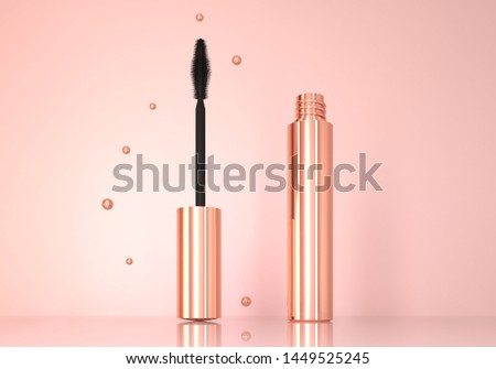 Opened realistic mascara tube on pedestal. Mascara close up 3d illustration