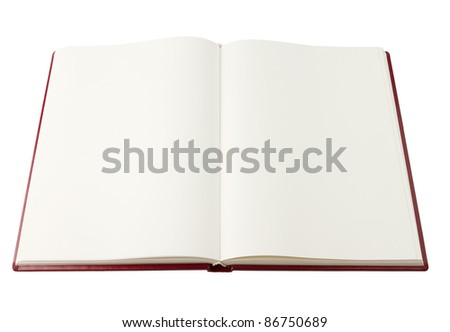 Opened red blank book isolated on white with clipping path