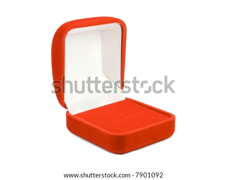 Opened red box for jewelry. Isolate on white.