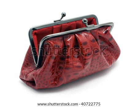 opened red clutch bag