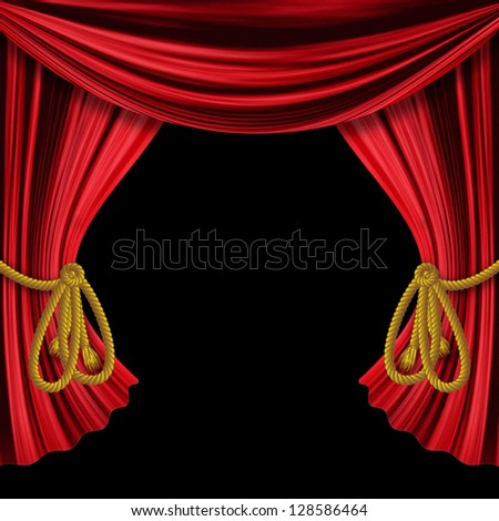 Curtains Ideas black theater curtains : Opened Red Theater Drapes, Curtains On Black Background. Stock ...