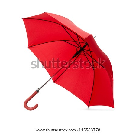 Opened red umbrella, isolated on white