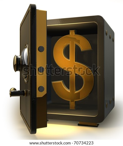 Opened safe with gold dollar symbol isolated on white background. 3d render