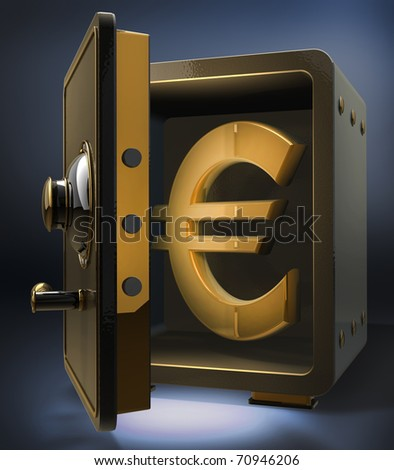 Opened safe with gold euro symbol 3d render