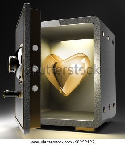 Opened safe with gold heart isolated on black background. 3D render