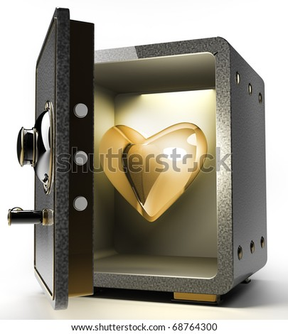 Opened Safe With Gold Heart Isolated On White Background. 3d ...