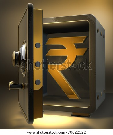Opened safe with gold indian pupee symbol. 3d render