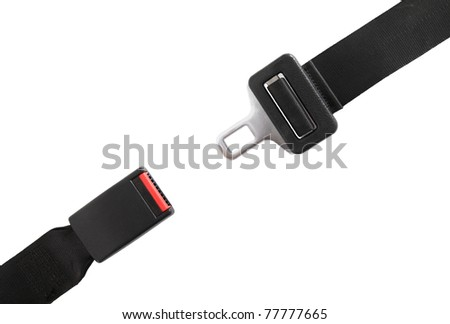 Opened seat belt. All on white background.