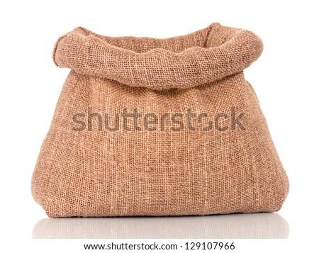 Opened small sack, isolated on white background