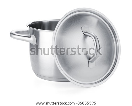 Opened stainless steel pot. Isolated on white background