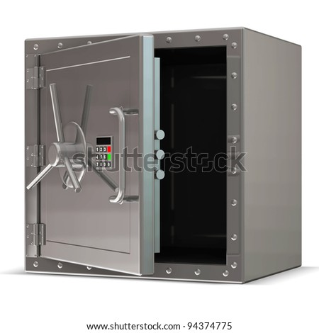 Opened Steel Safe with Electronic Lock on white background