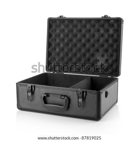 opened suitcase.Isolated on white background.