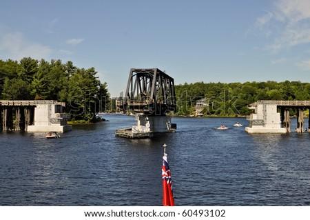 Opened swing bridge - Parry Sound, Ontario