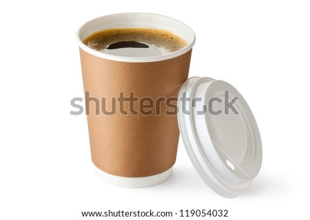 Opened take-out coffee in cardboard cup. Isolated on a white.