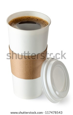Opened take-out coffee with cup holder. Isolated on a white. #117478543