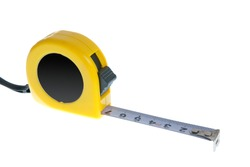 Opened tape measure isolated on white background.