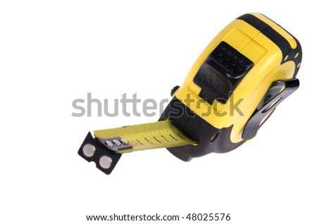 Opened tape measure isolated on white background