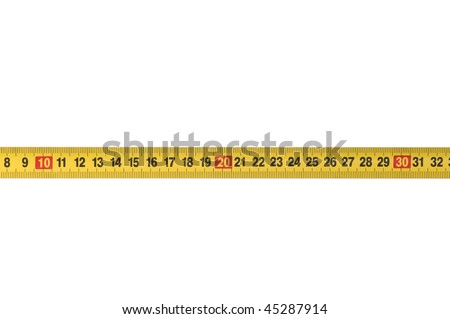 Opened tape measure on white isolated background