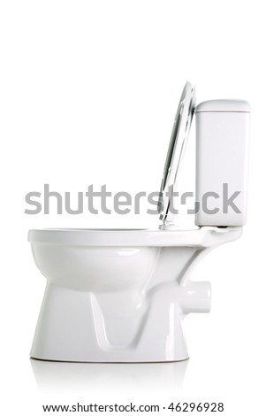 opened toilet, side view, isolated on white