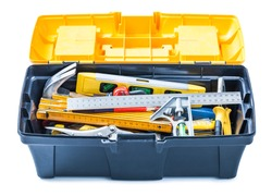 opened toolbox with tools isolated on white